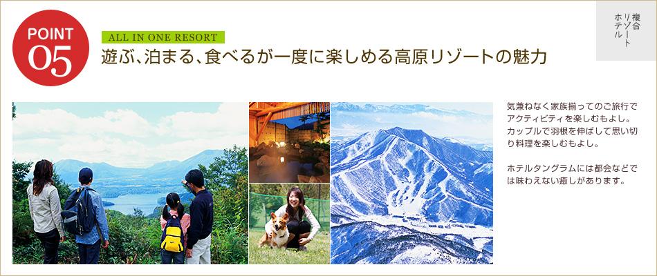 遊ぶ、泊まる、食べるが一度に楽しめる高原リゾートの魅力